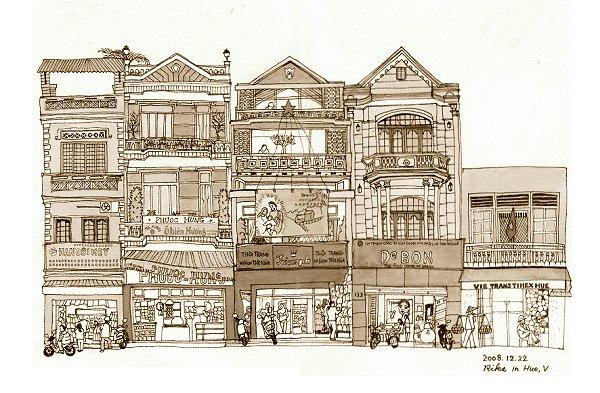 フエの街並み(絵)