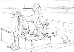 カエル駅のベンチ