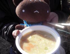 桜祭りの豚汁