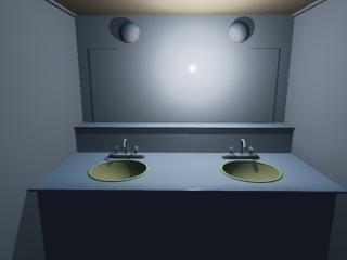 ドン詰まりにある洗面所