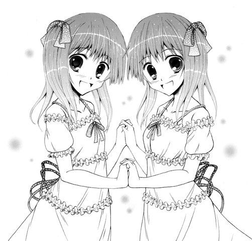 双子モノクロ