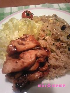 チャーハン&鶏の照焼き2