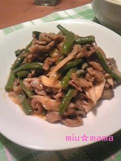 牛肉とインゲンの炒め物