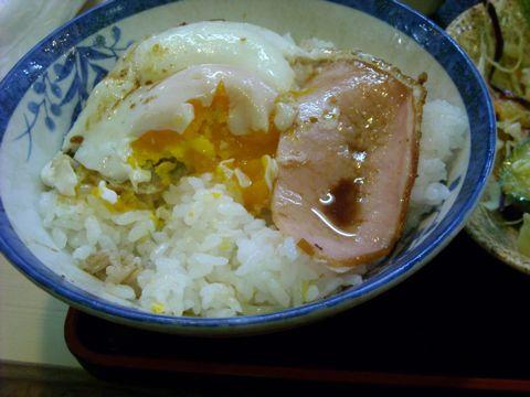 ハムエッグ丼
