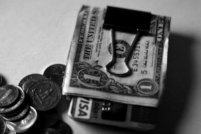 財布 お金 ドル お札 モノクロ クリップ
