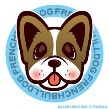 犬のイラストフレンチブルドッグ