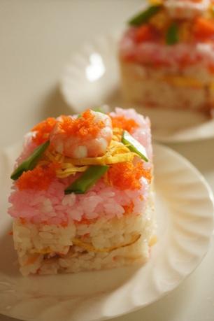 ひな祭りのひし型お寿司♪