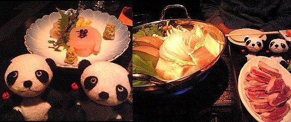 キスのお刺身と鴨鍋