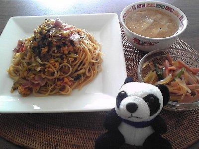 納豆と高菜パスタ