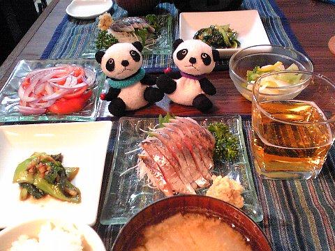 鯵のお刺身&チンゲン菜の中華蒸し献立