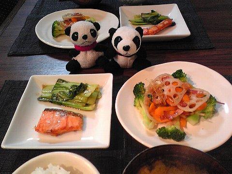 鮭&レンコンとブロッコリー献立