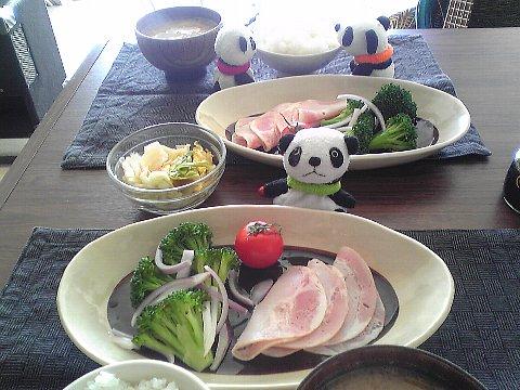 白菜漬けとハムサラダ