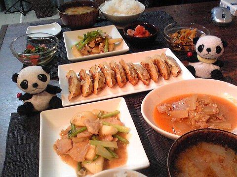 餃子&カブと豚の味噌炒め献立