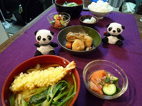天ぷらうどん&しらすご飯