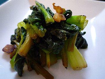 小松菜のガーリック酢醤油炒め
