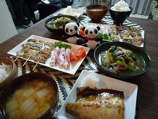 サバ&レンコンのねぎま&小松菜とかにカマのあんかけ豆腐 献立