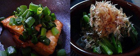 豆腐のステーキとほうれん草のおひたし
