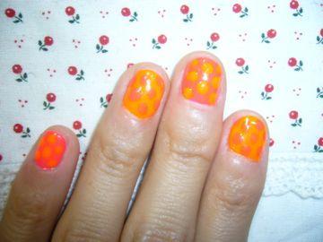 水玉ピンク×オレンジ