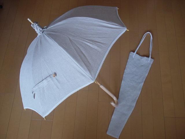 ハンドメイド♪ナチュラルギンガムのUV日傘