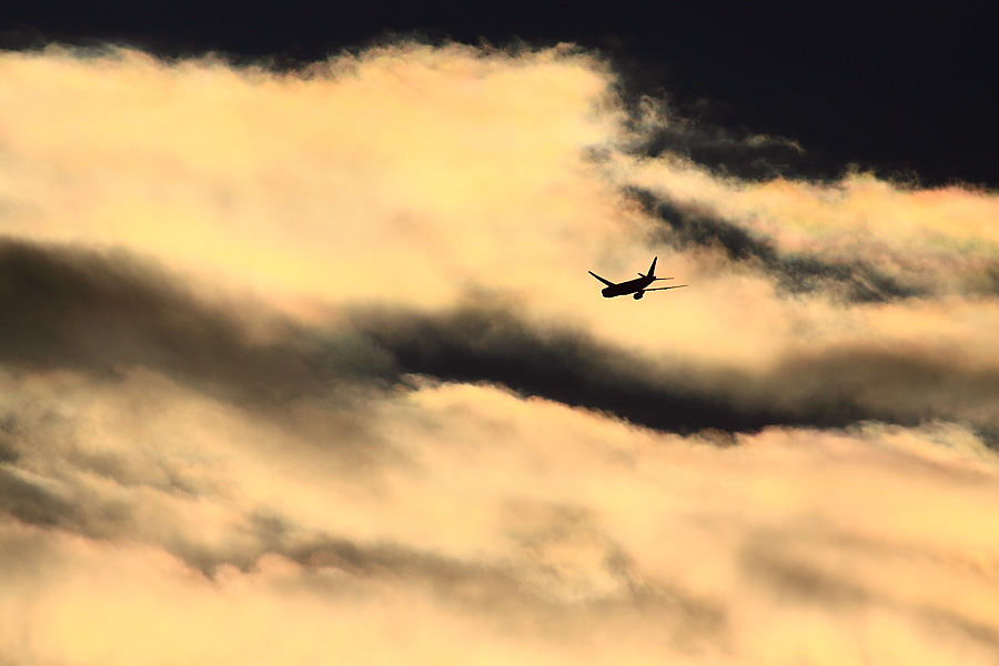 今朝の東の空&JAL B777-246 JAL102@エアフロントオアシス下河原(by EOS50D with SIGMA APO 300mm F2.8 EX DG/HSM+APO TC2x EX DG)