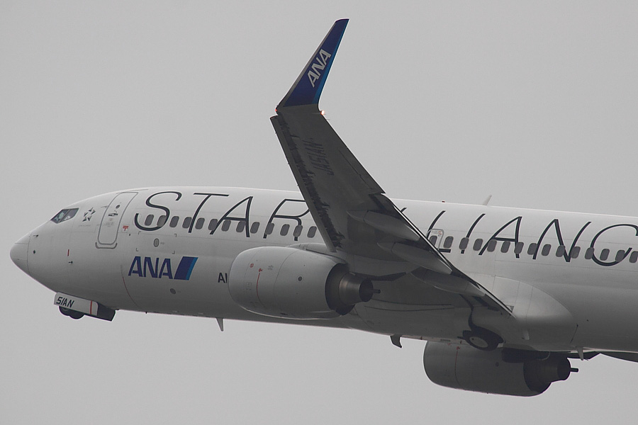 ANK B737-881 ANA962@RWY14Rエンド・猪名川土手(by EOS50D with SIGMA APO 300mm F2.8 EX DG/HSM + APO TC2x EX DG)