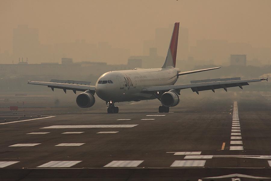 JAL A300-622R JAL103@RWY14Rエンド・猪名川土手(by EOS40D with SIGMA APO 300mm F2.8 EX DG/HSM+APO TC2x EX DG)