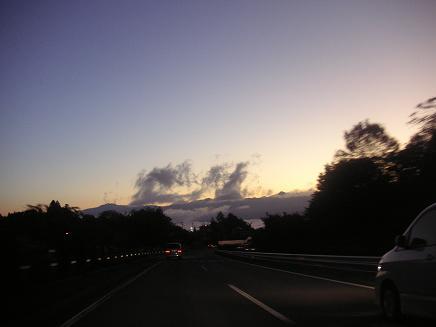高速から朝焼け