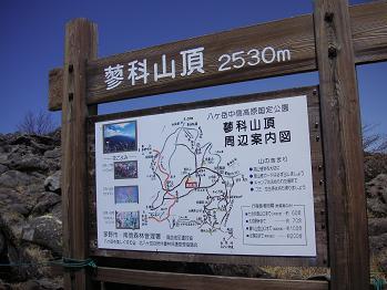 山頂ヒュッテ前の看板