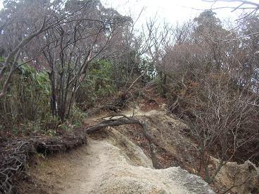 片斜面は崖・・の稜線