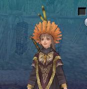 橙色羽根帽子