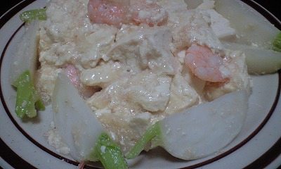 エビと蕪と豆腐のあんかけ