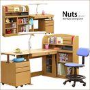 Nuts -ナッツ- 木製 システムデスク/フリーデスク 組み合わせ自由 6点セット 幅100cm 椅子付き