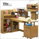 Vitz-ヴィッツ- ライトブラウン色 木製 システムデスク/フリーデスク 組み合わせ自由 5点セット 幅100cm