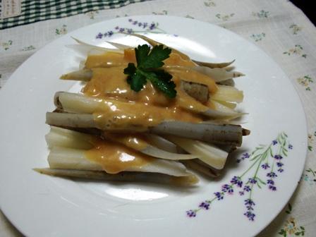 茹で牛蒡とセロリの味噌マヨ辛子