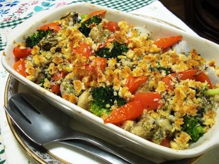 牡蠣とお野菜のオリーブオイル焼き