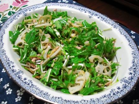 揚げ蓮根と水菜のツナサラダ