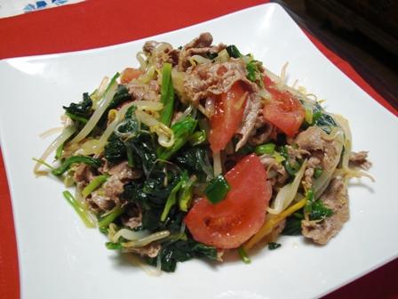 牛肉とほうれん草のラー油でサラダ