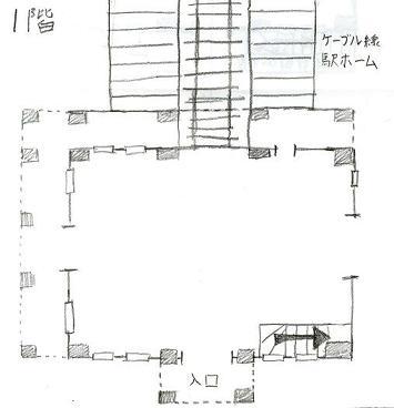 愛宕駅跡1階見取り図