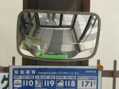 電話ボックスの中の鏡