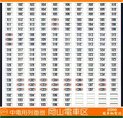 中電用列番器(岡山電車区)