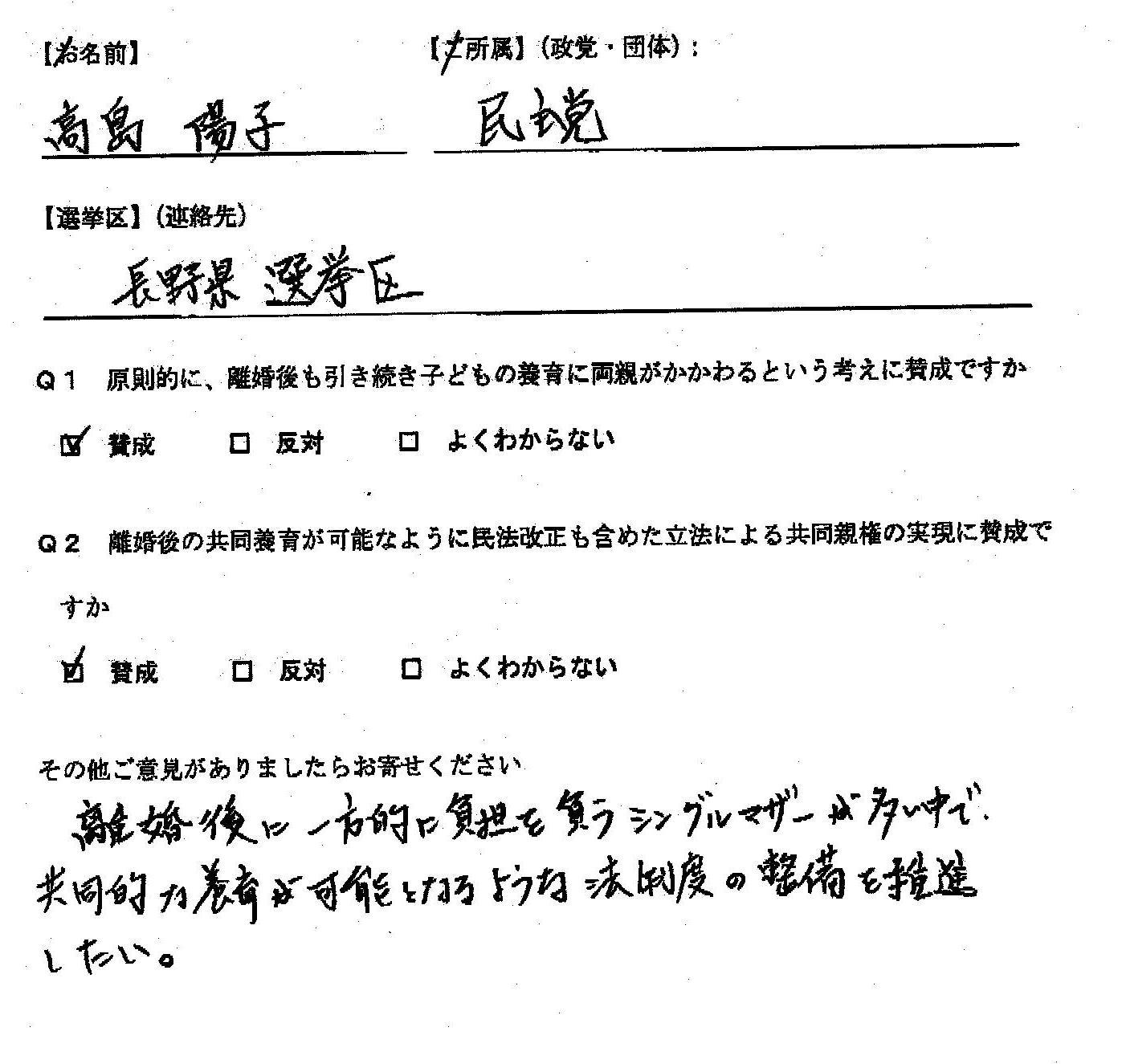 高島 陽子長野