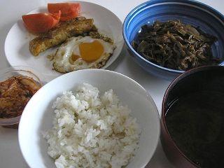 今日の夕食。雑穀米がポイント。