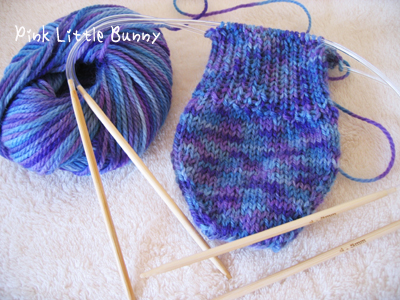 靴下輪編み途中