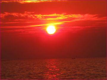 シェムリアップの湖の夕方