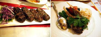 キョフテ (牛挽肉のトルコ風ハンバーグ) &骨付きラムのグリル