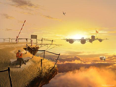 未来を連想させる幻想的なイラストレーション