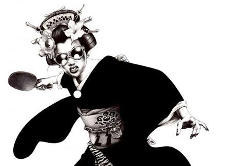 日本の伝統モダンスタイルイラスト - 白痴ランド
