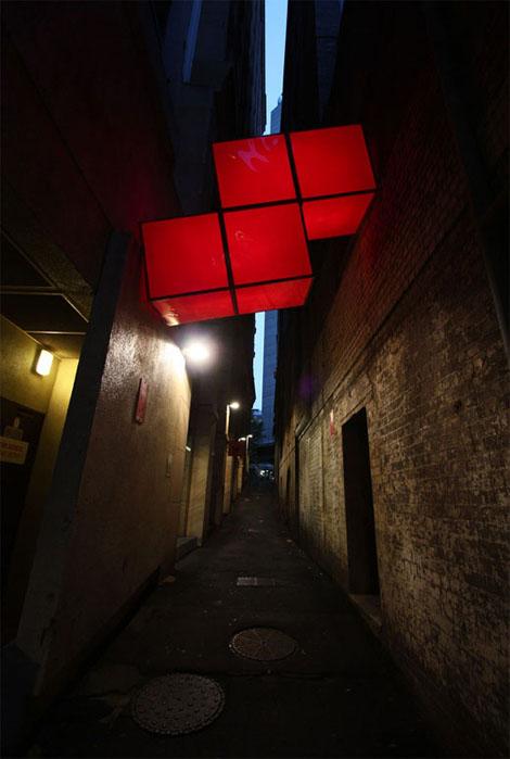 シドニーの街に引っかかったテトリスブロック