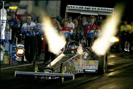 top fuel dragster flames