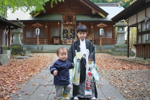 長男が住吉神社で七五三参り